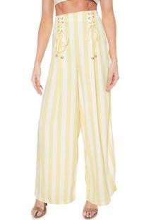 Calça Lez A Lez Pantalona Listrada Amarela/Off-White