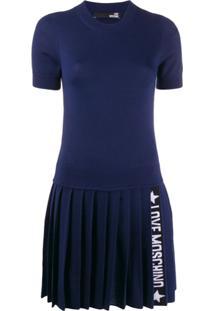 Love Moschino Vestido Listrado De Tricô - Azul