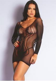 Mini Vestido Com Mangas Compridas 1005 Yaffa