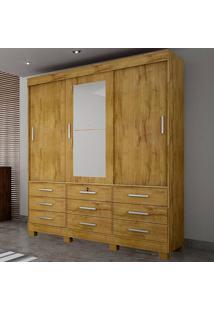 Guarda-Roupa Casal 3 Portas Sonare C/ Espelho – Novo Horizonte - Freijo Dourado