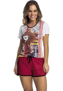 Pijama Recco De Malha Touch E Viscose Vermelho