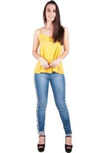 Blusa Banna Hanna De Alça Regulavel - Feminino-Amarelo