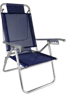 Cadeira Praia Reclinável Zaka Infinita Up Alumínio Até 120Kg Marinho