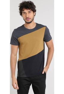 Camiseta Masculina Slim Fit Com Recorte Manga Curta Gola Careca Cinza Mescla Escuro