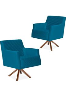 Kit 02 Poltronas Decorativas Para Sala De Estar Diva Tress㪠Veludo Liso B-170 - Lyam Decor - Azul - Dafiti