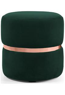 Puff Decorativo Com Cinto Rosê Round B-303 Veludo Verde Musgo - Domi