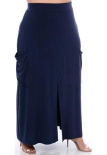 Saia Midi Azul Fenda Plus Size