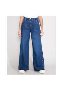 Calça Pantalona Wide Jeans Com Fenda Cintura Super Alta Azul Escuro