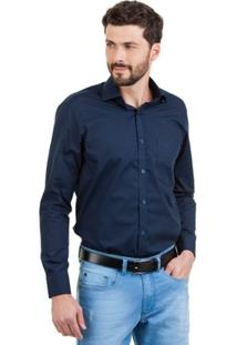 Camisa Di Sotti Silk Lisa Azul Marinho - Masculino