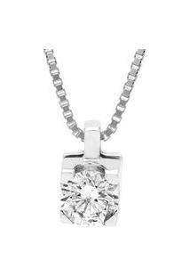 Pingente Solitário Ouro Branco E 50 Pontos De Diamantes