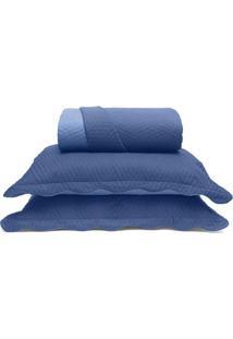 Conjunto De Colcha Metrã³Pole Queen Size- Azul- 3Pã§S