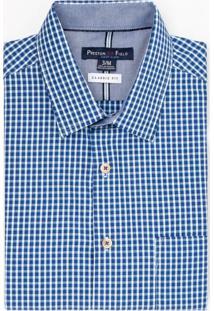 Camisa Manga Curta Social Comfort Fit Xadrez