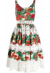 Dolce & Gabbana Vestido Com Estampa De Hortênsia E Detalhe De Renda - Vermelho