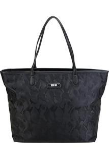 Bolsa Santa Lolla Shopper Camuflada Feminina - Feminino-Preto
