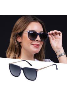 Óculos De Sol Feminino Acetato Polarizado Azul Com Uv 400
