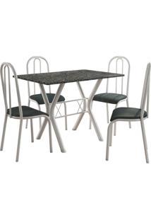 Conjunto De Mesa Miami 4 Cadeiras Branco/Petróleo Fabone