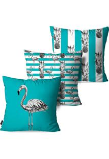 Kit Com 3 Capas Para Almofadas Pump Up Decorativas Azul Flamingos 45X45Cm