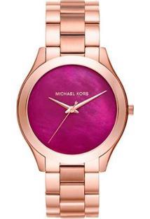 Relógio Michael Kors Slim Runway Analógico Mk3550/4Tn Feminino - Feminino-Rosê