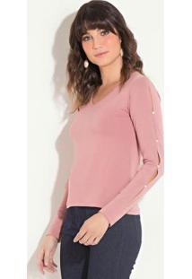 Blusa Quintess Rosê Com Pérolas Aplicadas