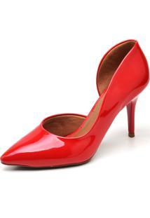 Scarpin Casual Verniz Ellas Online Vermelho - Tricae