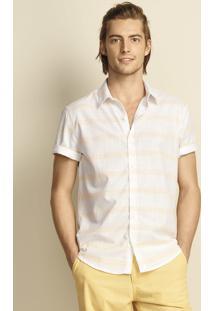 Camisa Masculina Slim Em Tecido De Fio Tinto 100% Algodão Hering