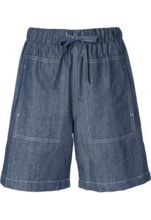 Callipygian Bermuda Jeans Com Cós Elástico - Azul