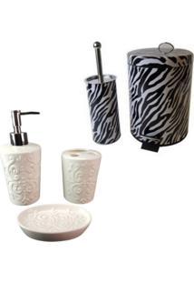Kit Para Banheiro Com Lixeira Saboneteira Porta Escova Sabão Liquido - Deca R05