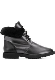 Hogl Ankle Boot De Couro Com Pele - Cinza
