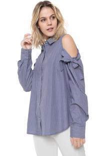 Camisa Ana Hickmann Reta Amarração Azul