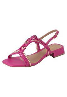Sandalia Feminina Amorelle Salto Baixo Grosso Confort Trança Pink 2