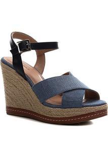 Sandália Anabela Shoestock Corda Jeans - Feminino-Jeans