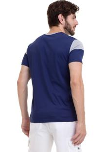 Camiseta Hifen Bicolor Azul/Cinza
