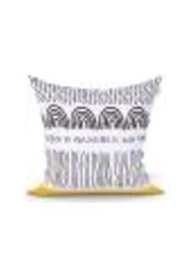 Capa De Almofada Estampada Clássica Preta Decorativa 45Cm X 45Cm Com Zíper Tecido Microfibra