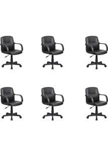 Conjunto Com 6 Cadeiras De Escritório Secretária Giratórias Clean Preto