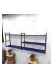 Estante Estilo Industrial Sala Aço Cor Preto 180X30X68Cm (C)X(L)X(A) Cor Mdf Azul Modelo Ind38Azsl