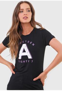 Camiseta Aeropostale Lettering Preta - Preto - Feminino - Viscose - Dafiti