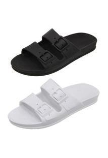 Kit 2 Sandalia Chinela Birken Mr Shoes Preto/Branco