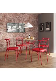 Conjunto De Mesa Tampo Vidro Redondo Com 4 Cadeiras Siena Móveis Vermelho Real