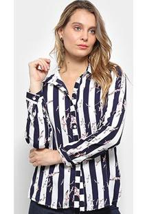 Camisa Pérola Manga Longa Listrada Feminina - Feminino-Marinho