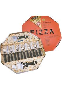 Kit Para Pizza 14 Peças Pizza Com Lamina De Aço Inox E Cabo