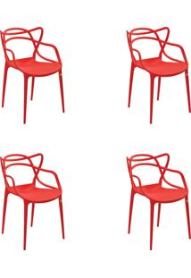 Kit 04 Cadeiras Allegra Vermelha Rivatti