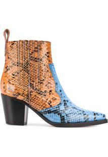 Ganni Ankle Boot Estilo Western - Azul