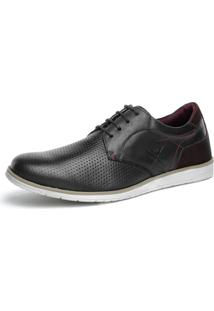 Sapato Sapatênis Casual Oxford Couro Nobuck Confort Khaata Preto Bordô