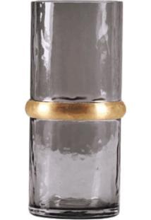 Vaso Vidro Fume Com Anel Metal Dourado No Meio