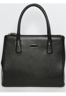 Bolsa Em Couro Texturizada- Preta- 27X41X14Cm- Ggriffazzi