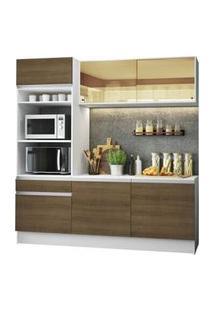 Cozinha Compacta Madesa Diamante Com Armário, Balcão E Tampo Branco/Rustic