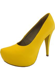 Sapato Hellen Suzan Salto Alto E Meia Pata Amarelo