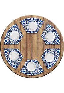 Jogo Americano Love Decor Para Mesa Redonda Wevans Tile Blue Kit Com 6 Pçs