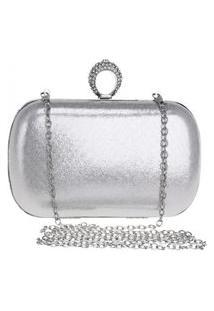 Bolsa Clutch Liage Alça Removível Tecido Metalizado Metal Strass Cristal Pedra Prata