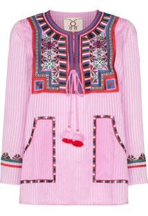 Figue Blusa Listrada Com Bordado - Rosa